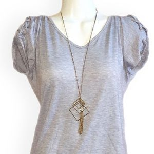 Simple NWOT Blue Top lace up arms
